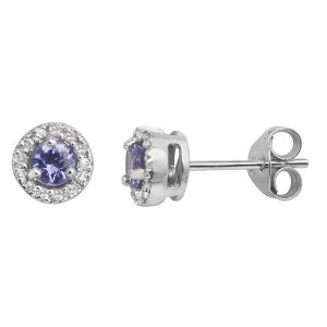 Diamond and Round Tanzanite Stud Earrings in 9ct White Gold