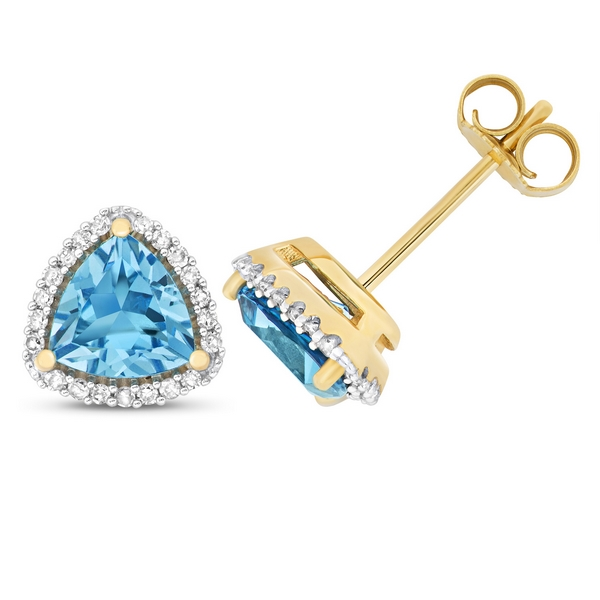 Diamond and Trillion Cut Blue Topaz Stud Earrings in 9ct Yellow Gold