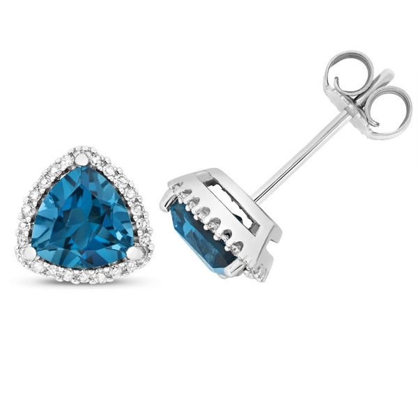 Diamond and Trillion Cut London Blue Topaz Stud Earrings in 9ct White Gold