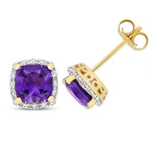 Diamond and Cushion Cut Amethyst Stud Earrings in 9ct Yellow Gold