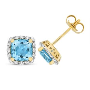 Diamond and Cushion Cut Blue Topaz Stud Earrings in 9ct Yellow Gold