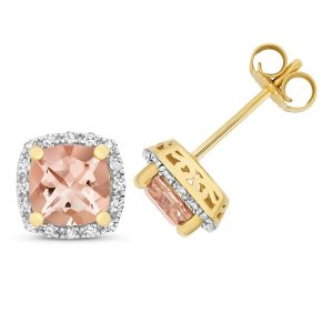 Diamond and Cushion Cut Morganite Stud Earrings in 9ct Yellow Gold