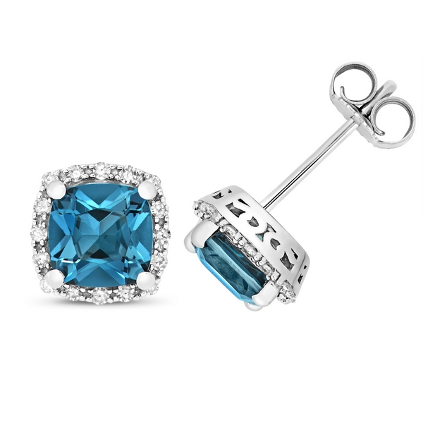 Diamond and Cushion Cut London Blue Topaz Stud Earrings in 9ct White Gold