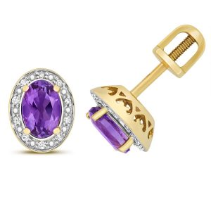 Diamond and Oval Cut Amethyst Stud Earrings in 9ct Yellow Gold