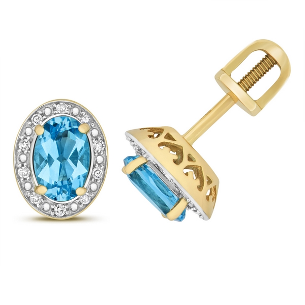 Diamond and Oval Cut Blue Topaz Stud Earrings in 9ct Yellow Gold