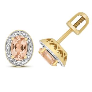 Diamond and Oval Cut Morganite Stud Earrings in 9ct Yellow Gold