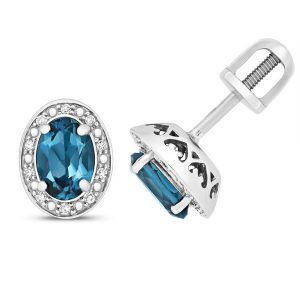 Diamond and Oval Cut London Blue Topaz Stud Earrings in 9ct White Gold