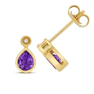 Diamond and Pear Shaped Amethyst Stud Earrings in 9ct Yellow Gold