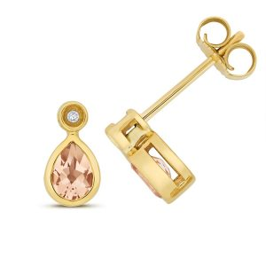 Diamond and Pear Shaped Morganite Stud Earrings in 9ct Yellow Gold
