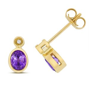 Diamond and Oval Shaped Amethyst Stud Earrings in 9ct Yellow Gold