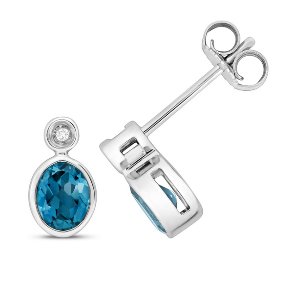 Diamond and Oval Cut Blue Topaz Set Stud Earrings in 9ct White Gold