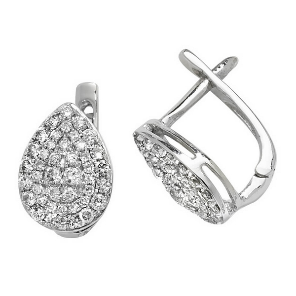 Diamond Set Drop Earrings in 9ct White Gold (0.50ct)