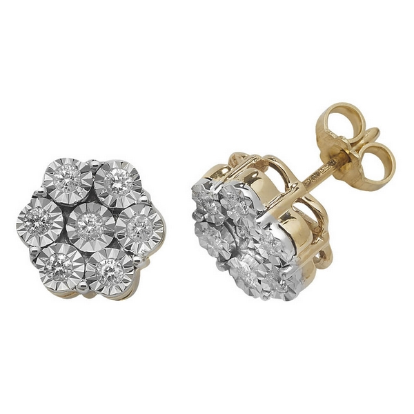 Diamond Cluster Illusion Set Stud Earrings in 9ct Yellow Gold (0.40ct)