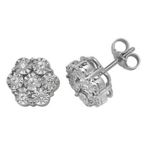 Diamond Cluster Illusion Set Stud Earrings in 9ct White Gold (0.40ct)