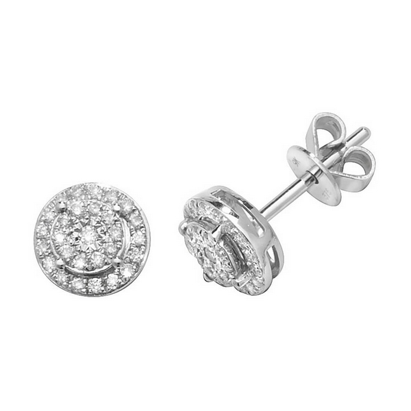 Diamond Cluster Illusion Set Stud Earrings in 9ct White Gold (0.240ct)