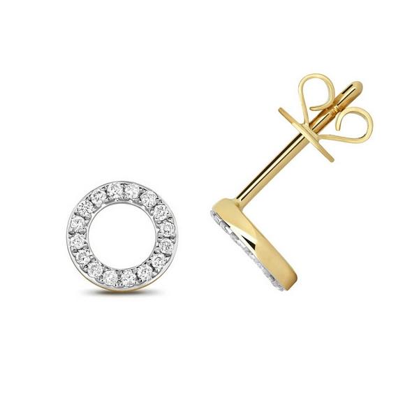 Diamond Circle Earring Studs in 9ct Yellow Gold (0.12ct)