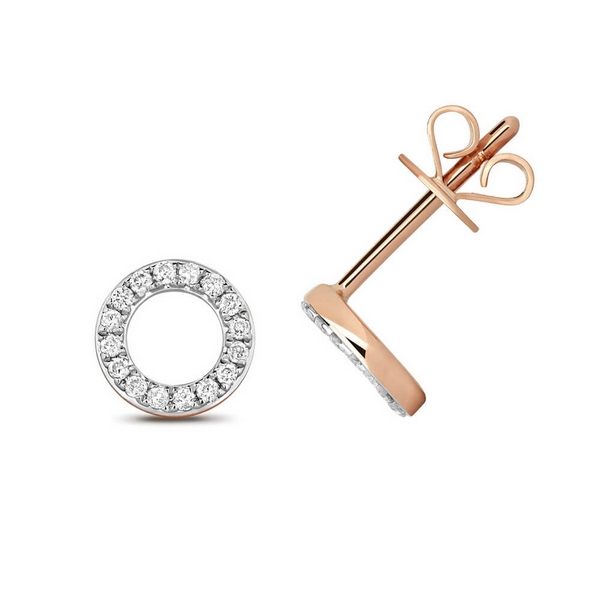 Diamond Circle Earring Studs in 9ct Red Gold (0.12ct)