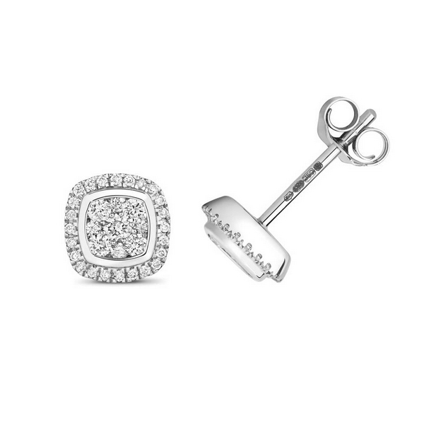Diamond Cluster Cushion Shaped Stud Earrings in 9ct White Gold (0.24ct)