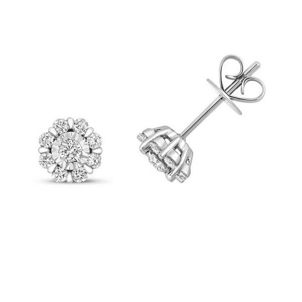 Diamond Cluster Flower Shaped Stud Earrings in 9ct White Gold (0.38ct)