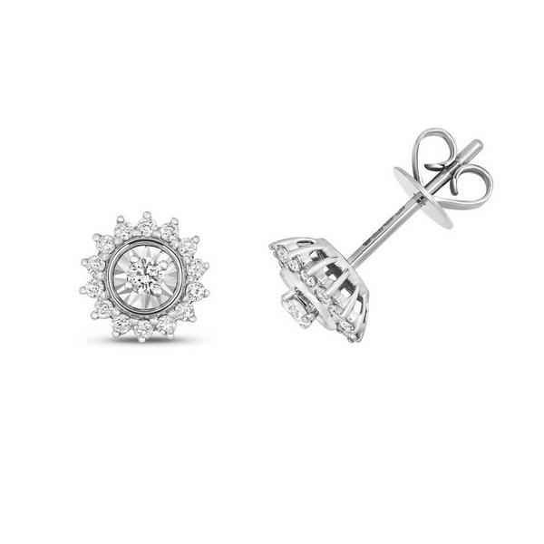 Diamond Cluster Flower Sun Design Stud Earrings in 9ct White Gold (0.28ct)