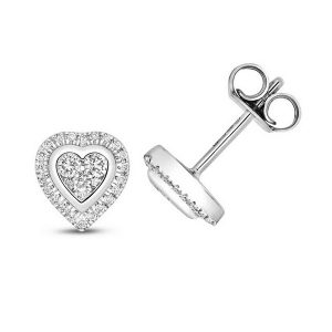 Diamond Cluster Heart Shaped Stud Earrings in 9ct White Gold (0.25ct)