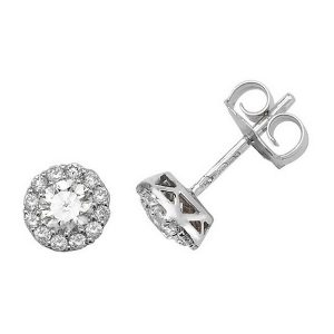 Brilliant Diamond Cluster Stud Earrings in 18ct White Gold (0.68ct)