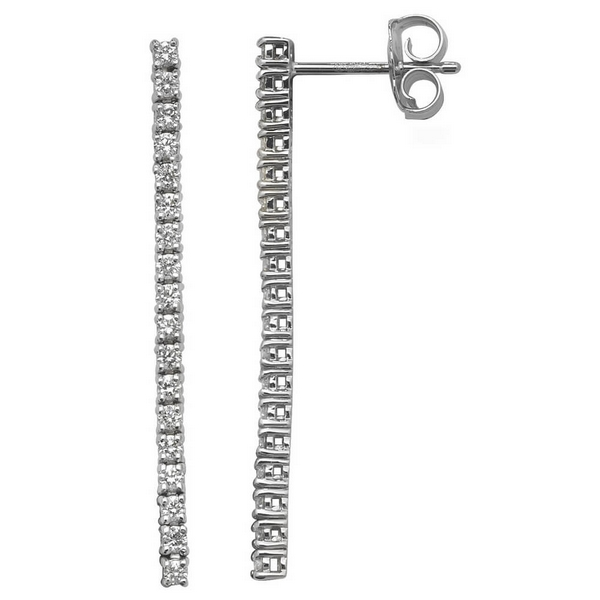 Diamond Line or Drop Earrings 18ct White Gold (0.58ct)