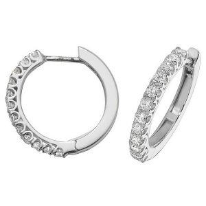 Diamond Small Hoop (Huggies) Earrings in 18ct White Gold (0.63ct)