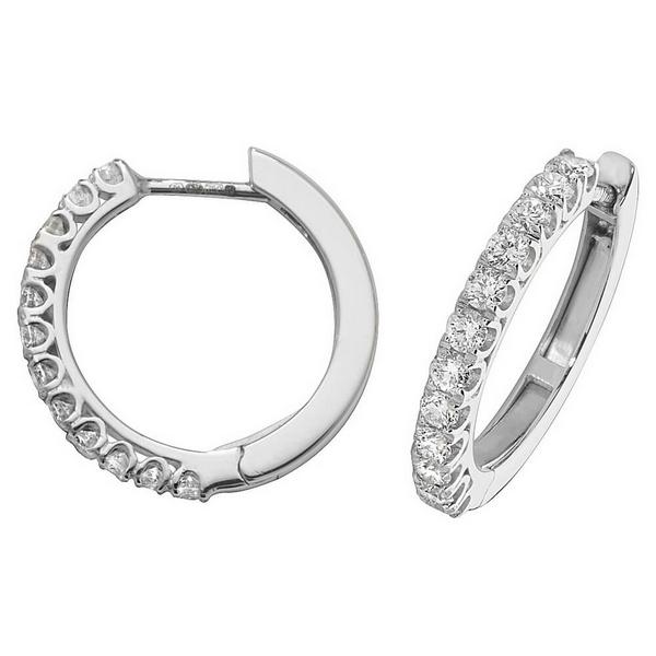 Diamond Small Hoop (Huggies) Earrings in 18ct White Gold (0.63ct)