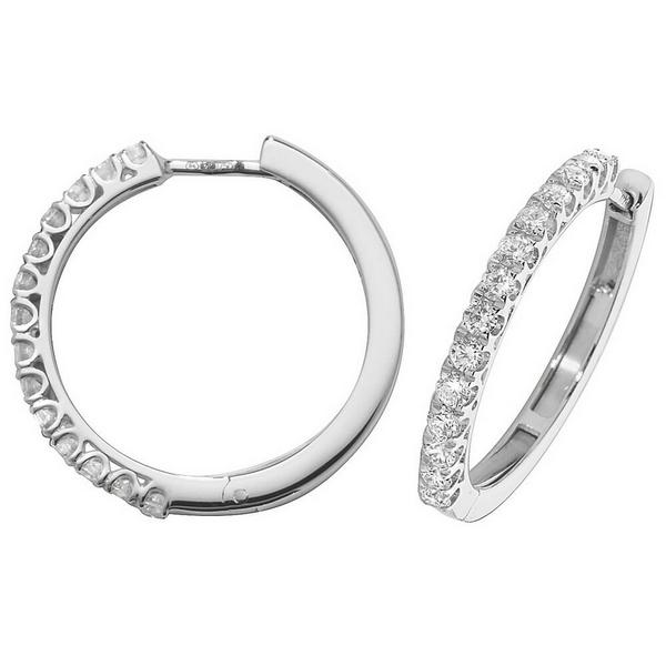 Diamond Small Hoop (Huggies) Earrings in 18ct White Gold (0.70ct)