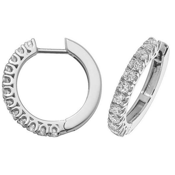 Diamond Small Hoop (Huggies) Earrings in 18ct White Gold (0.88ct)