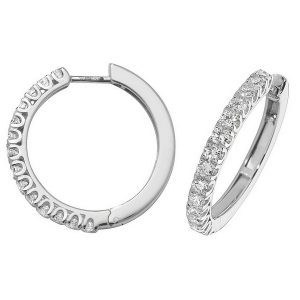 Diamond Small Hoop (Huggies) Earrings in 18ct White Gold (1.07ct)