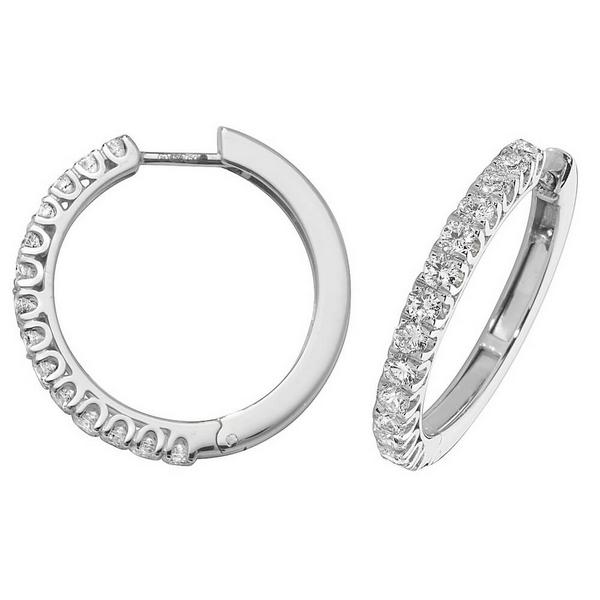 Diamond Small Hoop (Huggies) Earrings in 18ct White Gold (1.07ct)