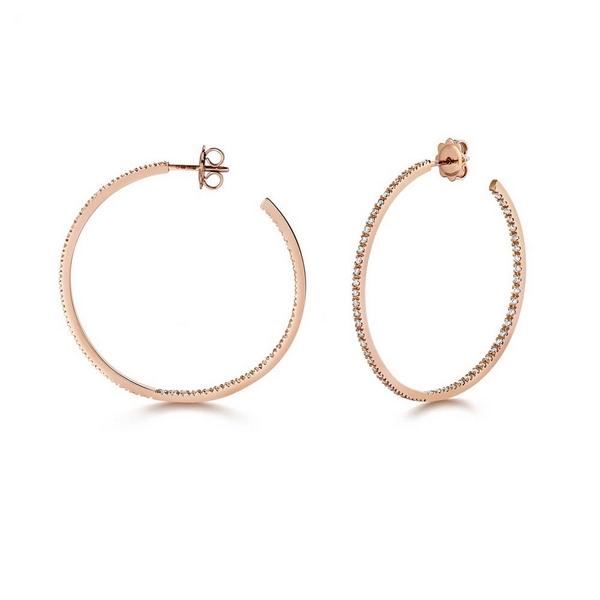 Diamond Large Hoop Earrings in 18ct Red Gold (1.14ct)