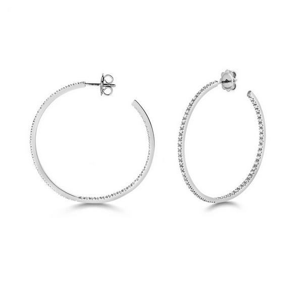 Diamond Large Hoop Earrings in 18ct White Gold (1.14ct)