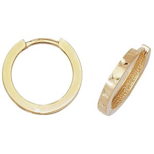 Diamond Cut Hinged Small Hooped 9ct Yellow Gold Earrings