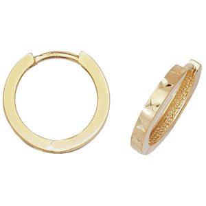 Diamond Cut Hinged Small Hooped 9ct Yellow Gold Earrings