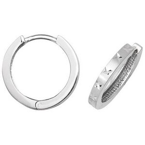 Diamond Cut Hinged Small Hooped 9ct White Gold Earrings