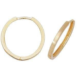 Diamond Cut Hinged Hooped 9ct Yellow Gold Earrings