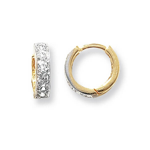 Small Hinged Hooped Earrings set with Cubic Zirconia in 9ct Yellow Gold