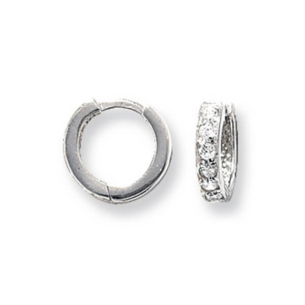 Small Hinged Hooped Earrings set with Cubic Zirconia in 9ct White Gold
