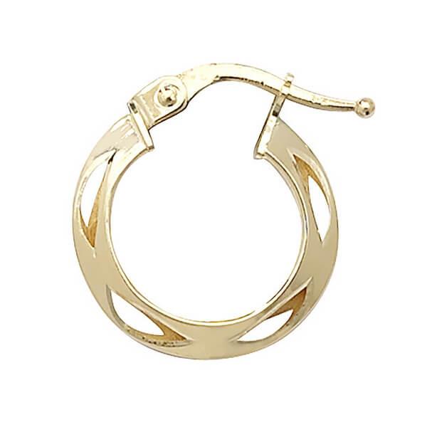 9ct Yellow Gold 10mm Diamond Cut Hooped Earrings