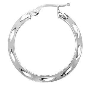 9ct White Gold 20mm Diamond Cut Hooped Earrings