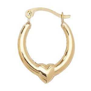 9ct Yellow Gold Creole Earrings with Heart Motif