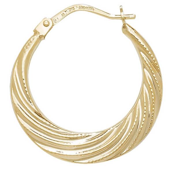 9ct Yellow Gold Swirl Creole Earrings
