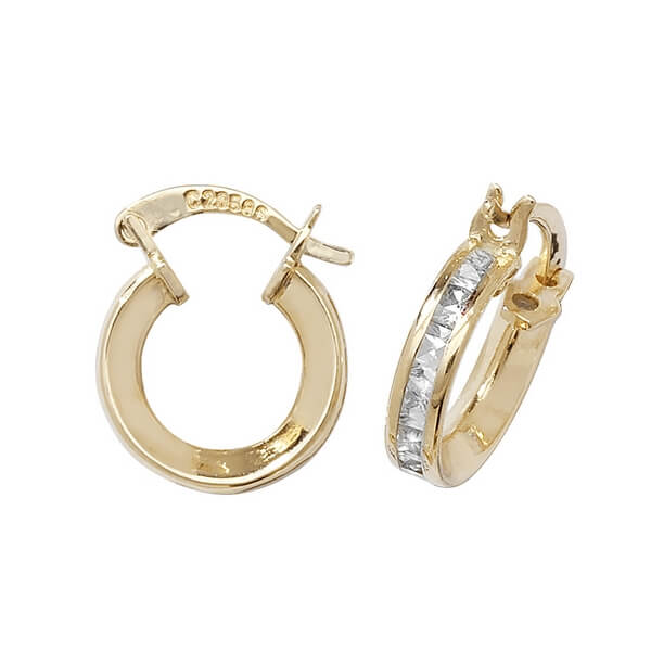 Small 8mm Hooped Earrings set with Cubic Zirconia in 9ct Yellow Gold