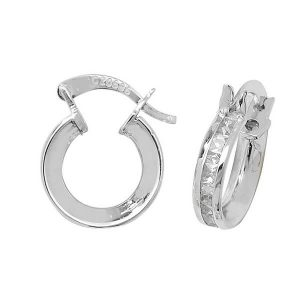 Small 8mm Hooped Earrings set with Cubic Zirconia in 9ct White Gold