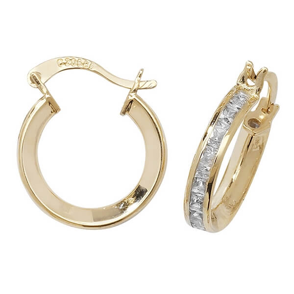 Small 10mm Hooped Earrings set with Cubic Zirconia in 9ct Yellow Gold