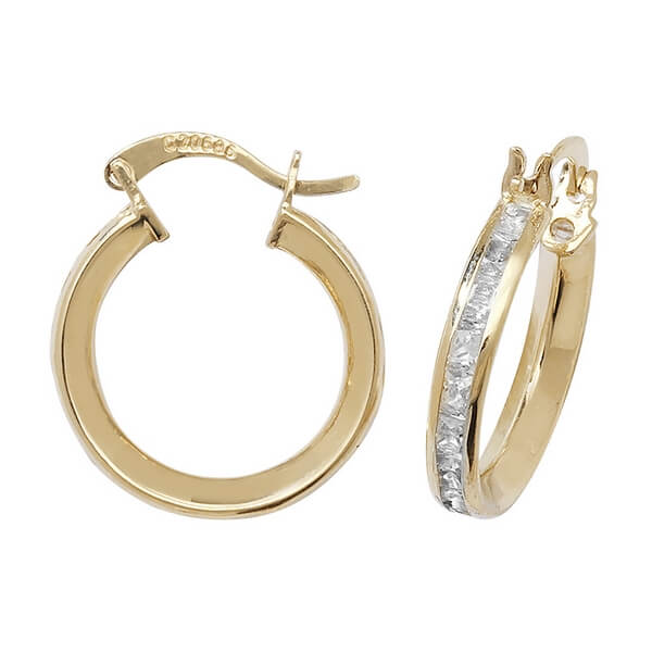 Small 15mm Hooped Earrings set with Cubic Zirconia in 9ct Yellow Gold