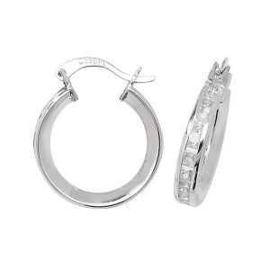 Small 15mm Hooped Earrings set with Cubic Zirconia in 9ct White Gold
